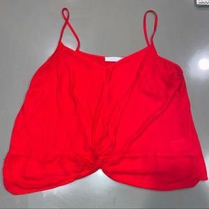 Women's Sheer Red Knotted Tank